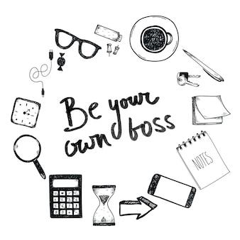 Set handgetekende kantoortools freelance tools om online ondernemer te worden