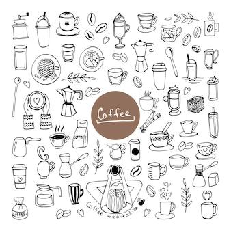 Set handgetekende kopjes koffie, chocolade, cacao of cappuccino, suiker, koffiezetapparaten en bonen.