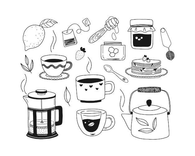 Set handgetekende kopjes thee, theepot, kruiden, citroen, honing, jam, pannenkoeken, franse pers. zwart-wit afbeelding.
