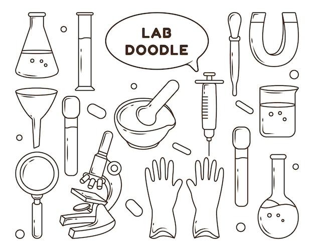Set handgetekende laboratoriumapparatuur cartoon doodle ontwerp kleuren