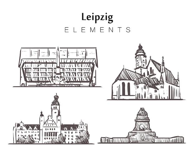 Set handgetekende leipzig gebouwen