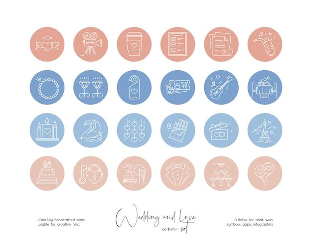 Set handgetekende lijntekeningen vector bruiloft en liefde illustraties voor sociale media of branding