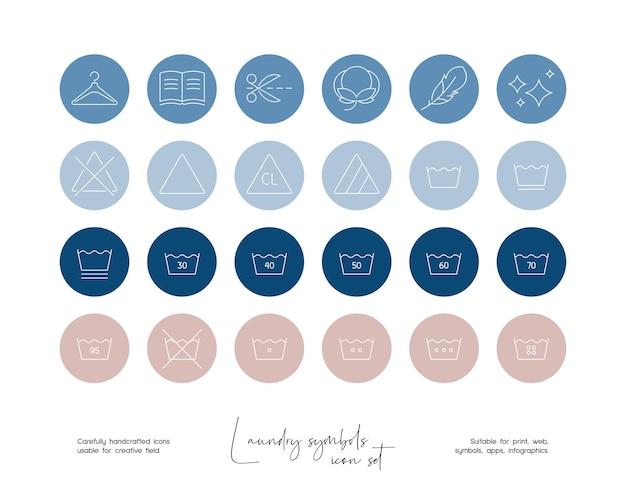 Set handgetekende lijntekeningen vectorillustraties voor wassymbolen voor sociale media of branding