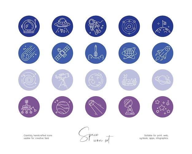Set handgetekende lijntekeningen vectorruimte-illustraties voor sociale media of branding