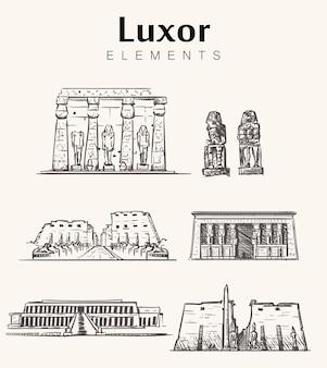 Set handgetekende luxor gebouwen
