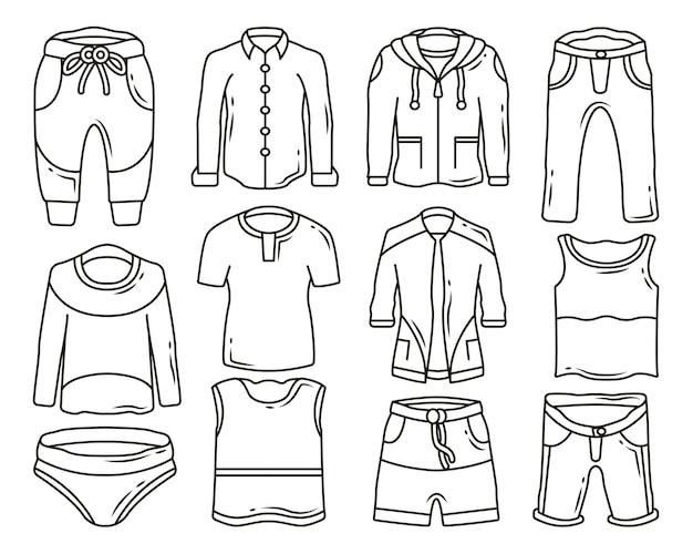 Set handgetekende mannen kleding en broek cartoon doodle ontwerp kleuren