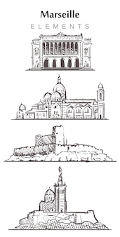 Set handgetekende marselle gebouwen