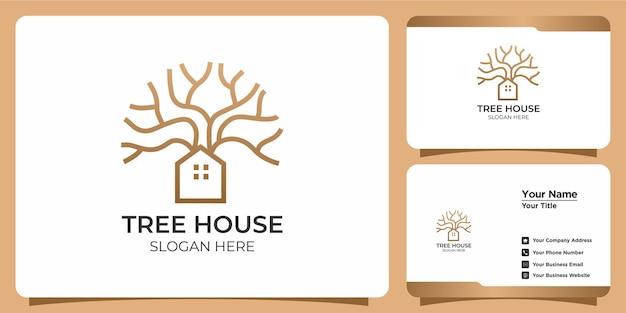 Set handgetekende moderne boomhut sjabloon logo's en visitekaartjes