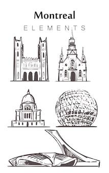 Set handgetekende montreal gebouwen