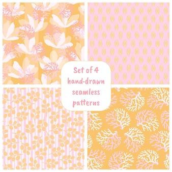 Set handgetekende naadloze patronen met bloemen. kleurrijke bloemenillustraties voor papier, cadeaupapier, behang, stof, textielontwerp.