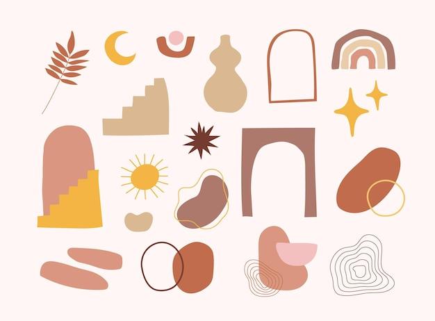 Set handgetekende organische abstracte vorm voor trendy baby shower decoratie en kunst aan de muur decor. handgetekende boho-element in scandinavische eigentijdse stijl. klodderpatroon voor kinderdagverblijf