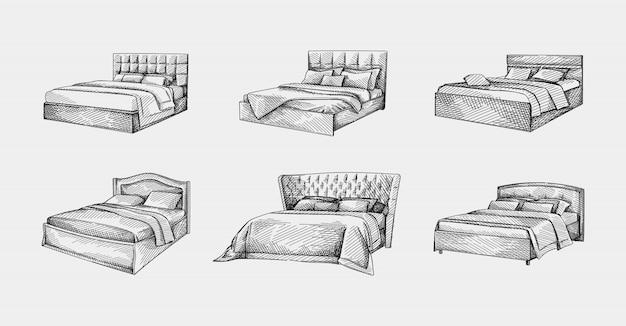 Set handgetekende schetsen van bedden. tweepersoonsbed met eenvoudig hoofdeinde en hoofdeinde van leer. bed met deksel en kussens. slaapkamermeubels.