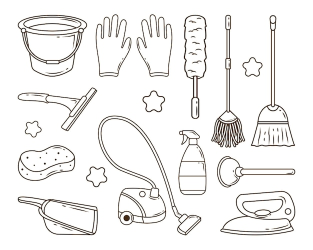 Set handgetekende schoonmaakservice in doodle-stijlkleuring
