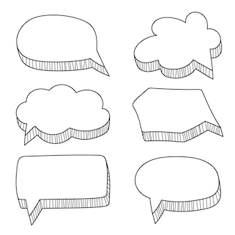 Set handgetekende strips stijl tekstballonnen op wit