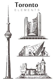 Set handgetekende toronto gebouwen