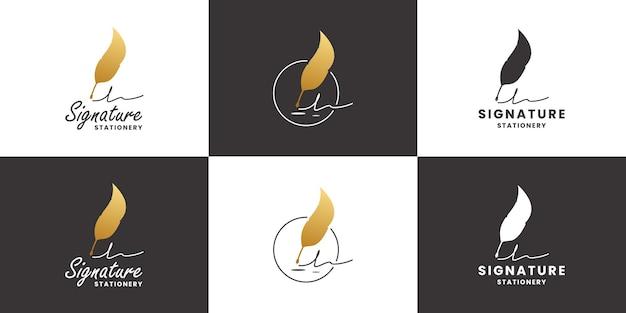 Set handtekening logo ontwerp vector