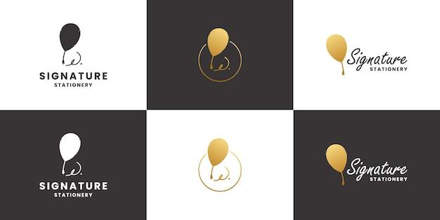 Set handtekening, verenpen, oud briefpapier-logo-ontwerp met gouden kleur