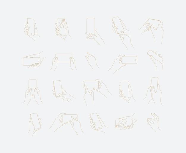 Set handtelefoon in verschillende posities