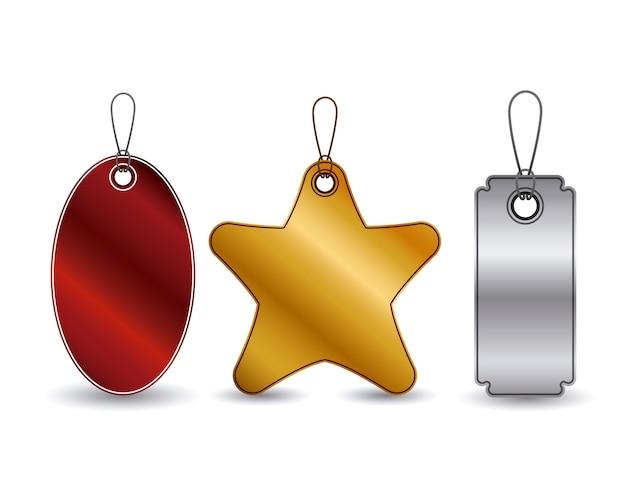 Set hangende tags pictogram. prijsaanbodkorting en marktontwerp. geïsoleerd en kleurrijk ontwerp. vect