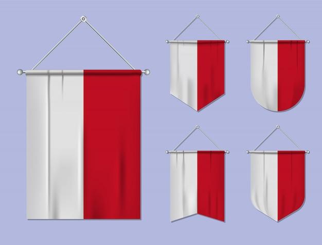 Set hangende vlaggen indonesië met textiel patroon. diversiteitsvormen van het land van de nationale vlag. verticale sjabloonwimpel
