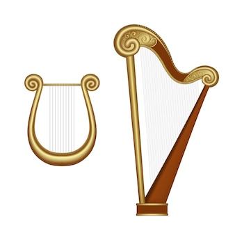 Set harp en lier geïsoleerd op wit
