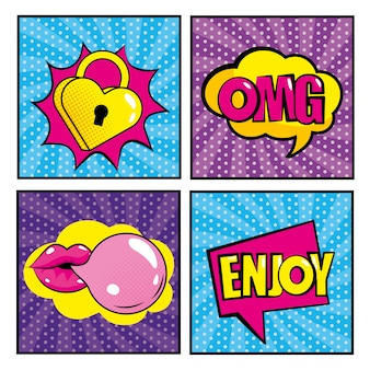 Set hart hangslot en mond bubble bum met berichten