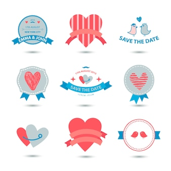 Set hartbanners, linten, liefdesbadges, pictogrammen. vintage valentijn set, romantische collectie, bruiloft