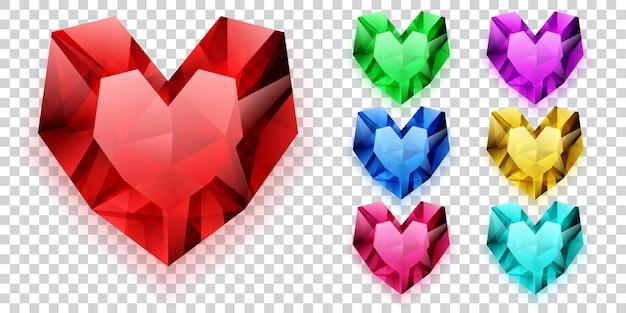 Set harten in verschillende kleuren gemaakt van kristallen