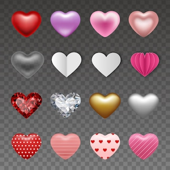 Set harten in verschillende stijlen voor valentijnsdag decoraties
