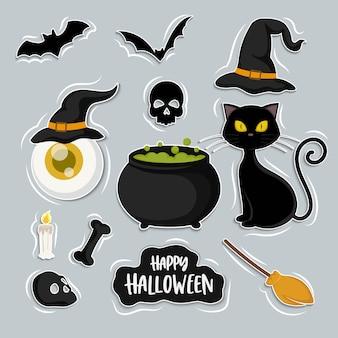 Set heks en kat cartoon, halloween-elementen instellen, geïsoleerd op de achtergrond
