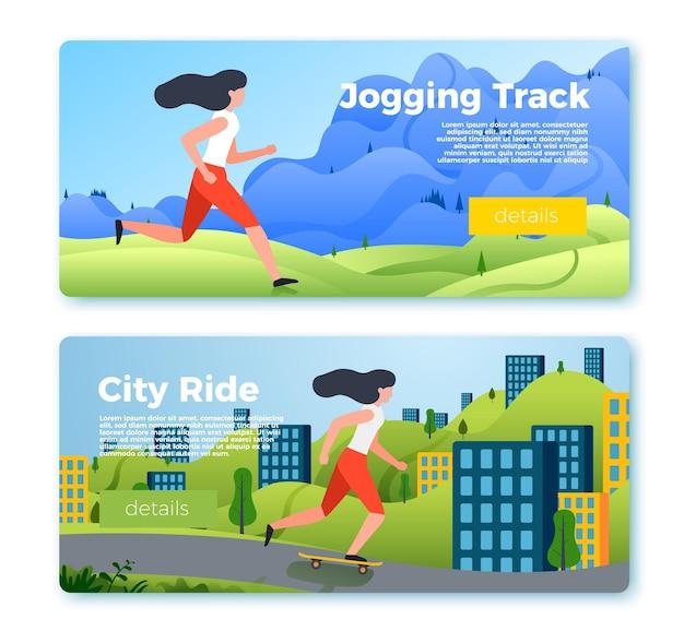 Set heldere bannermalplaatjes met meisje rijden en rennen