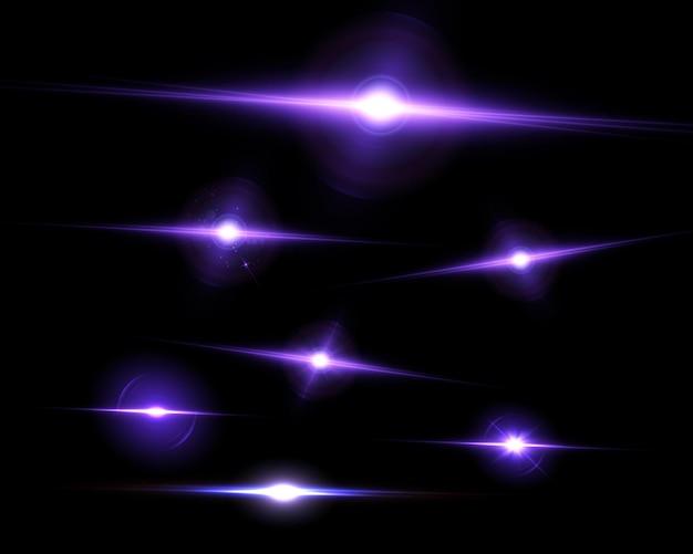 Set heldere paarse lichteffecten voor vectorillustraties