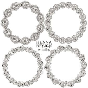 Set henna floral ronde frames op basis van traditionele aziatische ornamenten. paisley mehndi-collectie.