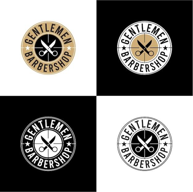 Set heren kapper winkel logo ontwerp
