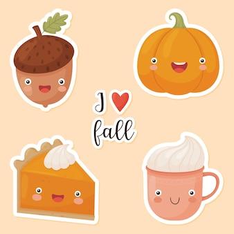 Set herfst stickers. grappige herfst karakters. pompoen, eikel, pompoentaart, beker en belettering. vector illustratie.