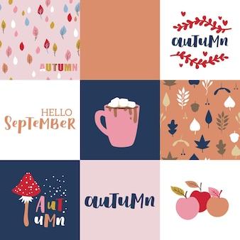 Set herfst vectorillustratie met hand belettering. trendy kleurenpalet en zwarte inkt zinnen op abstracte achtergrond. leuke typografie-elementen.