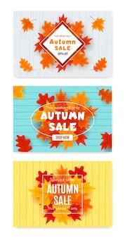Set herfst verkoop banner met herfstbladeren, herfst typografie en kortingstekst.
