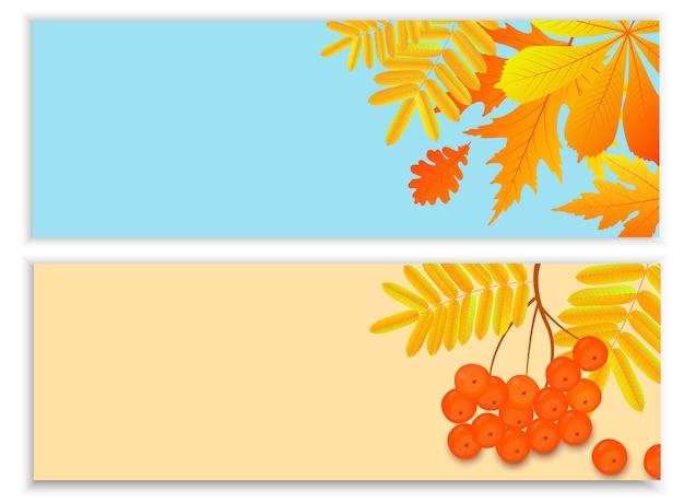 Set herfstbanners voor seizoensgebonden verkoop met vallende bladeren en lijsterbessen
