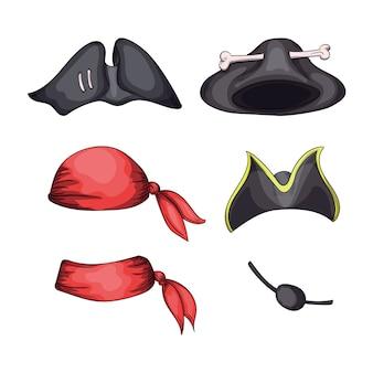 Set hoeden voor piraten en bandieten en blinddoek