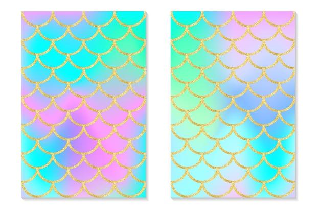 Set holografische regenboog achtergrond. zeemeermin gouden schalen. hologram print voor uitnodigingskaart.