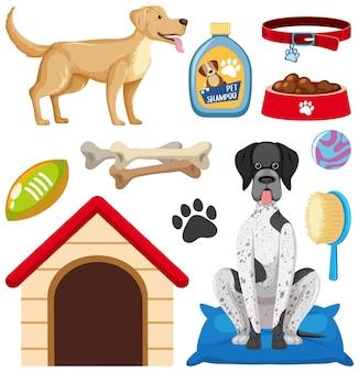 Set hond elementen geïsoleerd op een witte achtergrond