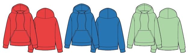 Set hoodies met kangoeroezak aan de voorkant rood groen blauw kleuren