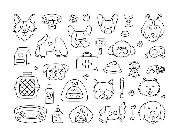 Set hoofden van verschillende rassen honden en hondenaccessoires.