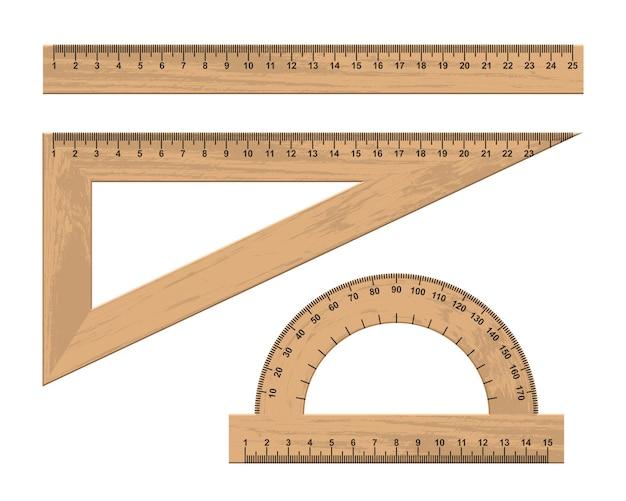 Set houten liniaalinstrumenten