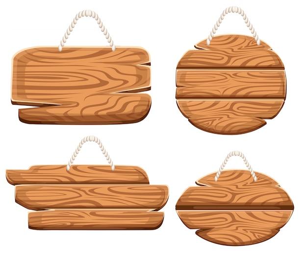 Set houten platen op touw in cartoon stijl. collecties van houten uithangborden. houten bord oude weg planken set. op witte achtergrond.