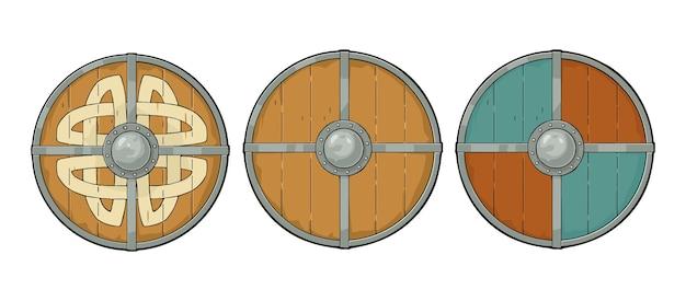 Set houten ronde schilden met viking runen, ijzeren rand. gravure