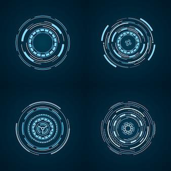 Set hud futuristische element geïsoleerd op blauw