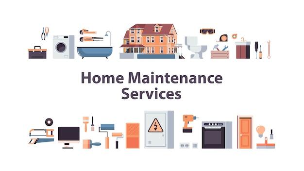 Set huis onderhoud reparatie service concept horizontale geïsoleerde vector illustratie