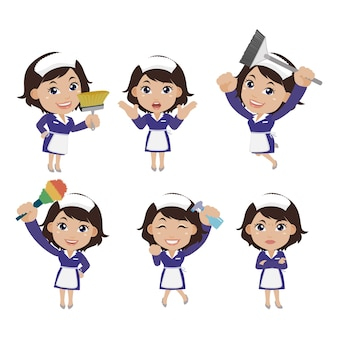 Set huishoudster met verschillende poses