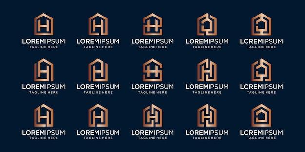 Set huislogo gecombineerd met letter h, ontwerpt sjabloon.